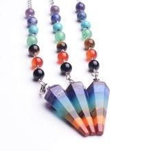 10PC prix de gros naturel 7 Chakra pierre Quartz radiesthésie pendule pendentif collier Reiki bijoux tour de cou colliers pendentifs