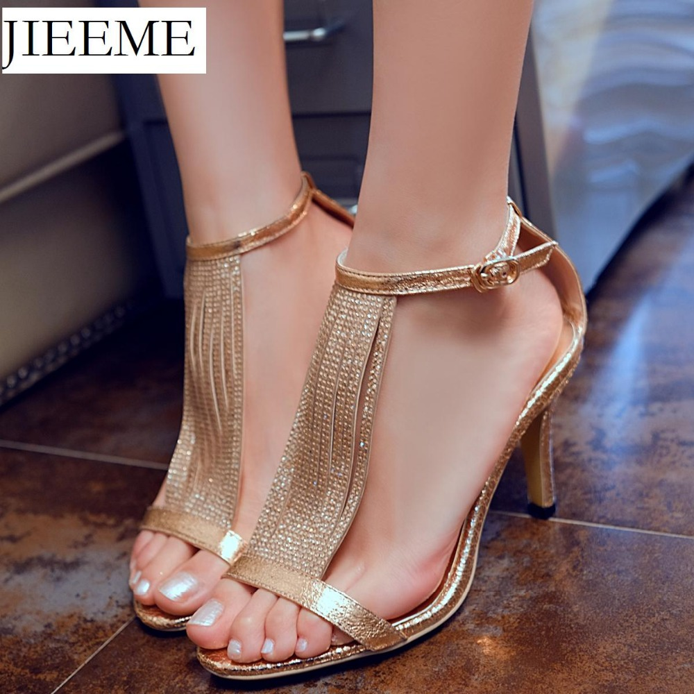 2018 New arrival Sexy Gold Silver Full grain leather Buckle strap Crystal women Sandals  ...