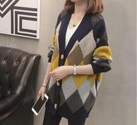 2018 New Women Batwing Cardigans Loose Sweater Big Size Loose Geometric Poncho Cardigan V neck Open Stitch Christmas Sweater