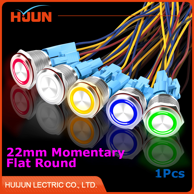 1pcs 22mm Waterproof Momentary Flat Round Stainless Steel Metal Push Button Switch Colorful LED Light Shine Car Horn Auto Reset