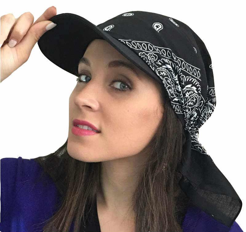 1db74c7b0364e 2018 Fashion Square Cap Cotton New Unisex Paisley Visor Pre Fitted Bandana  Hat Women Men Outdoor