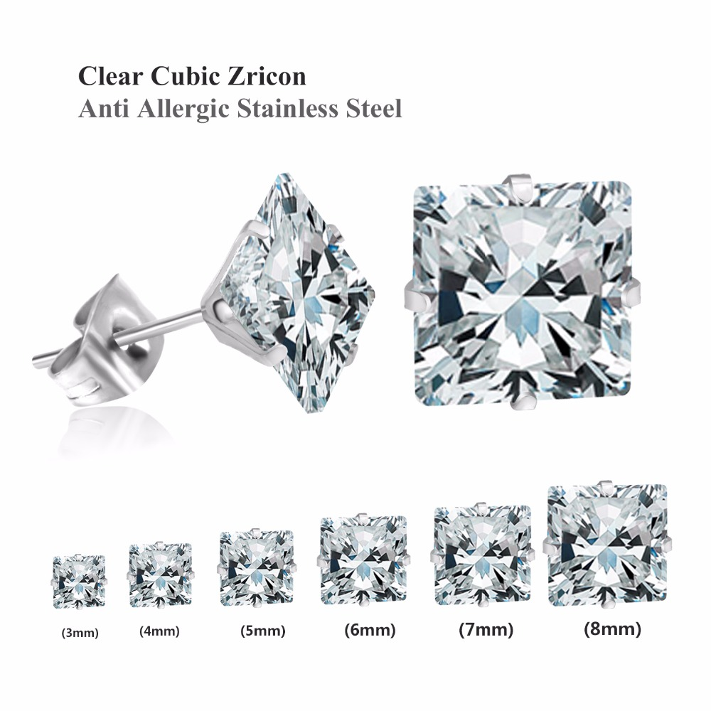 Champagne Simulated Diamond Square Earrings with Gift Box 5mm//6mm//8mm
