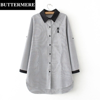 BUTTERMERE 4XL Plus Size Long Shirt Striped Autumn Spring Cat Embroidery Blouse With Pockets Buttons Women