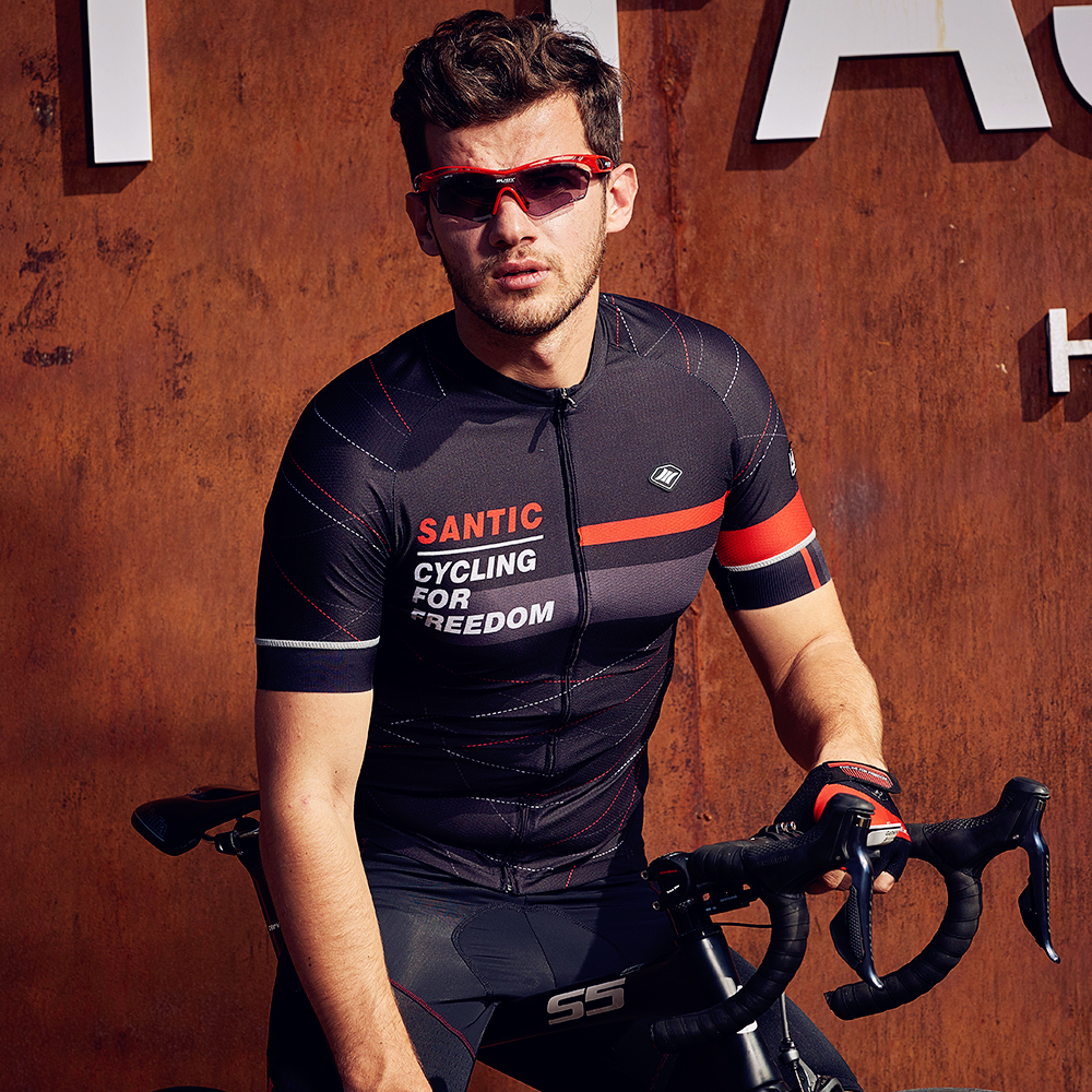 Santic Men Cycling Short Jerseys Pro Fit Antislip Sleeve Cuff Road Bike MTB Short Sleeve Jerseys Breathable Asia M-XXXL K7M2026Santic Men Cycling Short Jerseys Pro Fit Antislip Sleeve Cuff Road Bike MTB Short Sleeve Jerseys Breathable Asia M-XXXL K7M2026