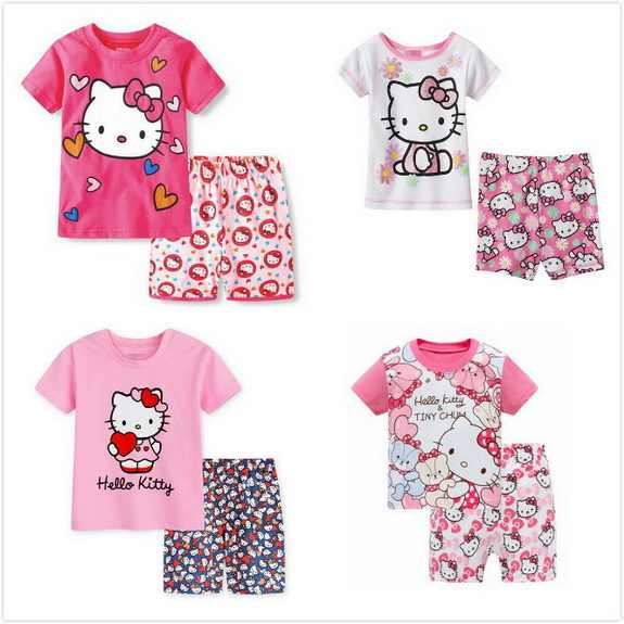 a9be879129 Baby Kids Pajamas Sets Summer Children Short Sleeve Cotton Hello Kitty Sleepwear  Boys pyjamas Girls Home