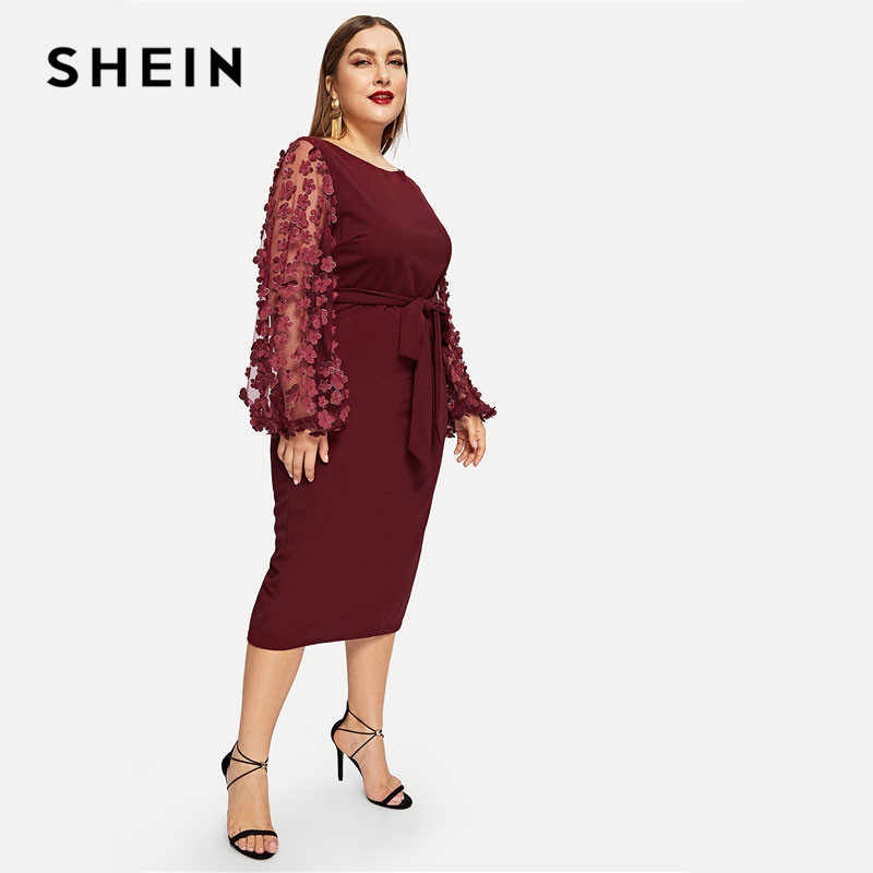 7ed1dd20bc SHEIN Burgundy Women Plus Size Elegant Pencil Dress With Applique Mesh  Lantern Sleeve High Street Belted Slim Fit Party Dresses