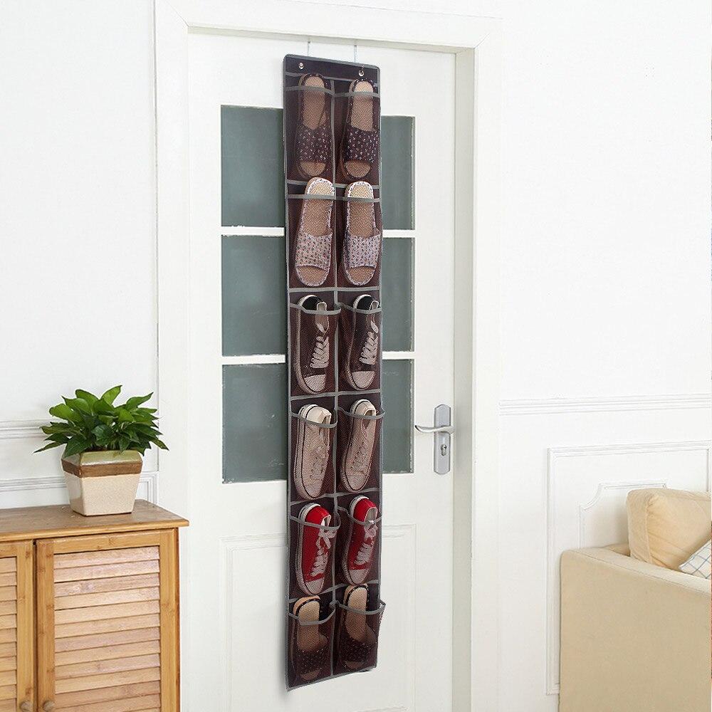 12 Pockets PVC Shoes Hanging Bag Transparent Hanging Bag Behind Door Practical Storage Tidy Organizer Home Space Saving Bags