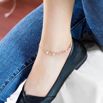 Zircon Love Heart Anklet Rose Gold Color Titanium Stainless Steel Material Anklets Fashion Trendy Women Jewelry Gift 5