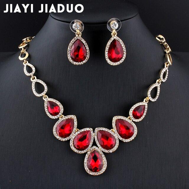 Jiayijiaduo conjunto de joyas africanas de color dorado y conjunto de pendientes de cristal rojo para mujer conjunto