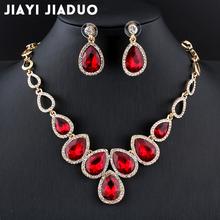 Jiayijiaduo gorąca afrykańska biżuteria zestaw złoty kolor cystal naszyjnik zestaw i zestaw kolczyków dla kobiet czerwony kryształ zestaw biżuterii ślubnej tanie tanio Jiayi Jiaduo Ze stopu cynku Zestawy biżuterii dla nowożeńców TRENDY Kobiety Dziewczyny Ślub Necklace Earrings PLANT