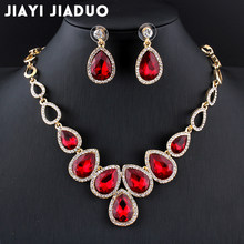 jiayijiaduo Hot african Jewelry set Gold-color cystal necklace set and earrings set for women Red crystal wedding jewelry set(China)