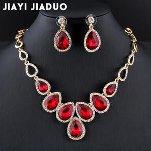 Jewelry-Set Crystal Jiayijiaduo African Gold-Color Hot And Wedding Women for Red