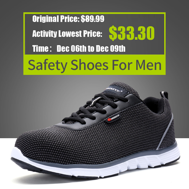 f8d9fd511bdb LARNMERN Men Steel Toe Safety Shoes For Men Lightweight Breathable Work  Shoes Men s Security Footwear Protective