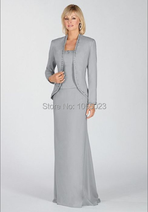 Free Jacket Silver Mother of the Bride Dress Plus Size Floor Length  Grandmother s Wedding Gala s Dress Floor Length Size14 16 18-in Mother of  the Bride ... 17acd235d0db