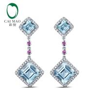 Lovely Drop Earrings 14K White Gold 7.52ct Natural Sky Blue Topaz Diamonds Pink Ruby Engagement Earrings