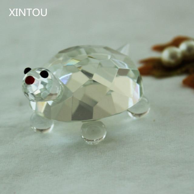 XINTOU Crystal Glass Animals Turtles Figurines Quartz Crystals Animal Turtle Figurine Christmas Terrarium Desk Ornaments Craft