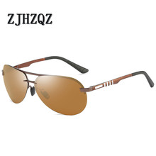 New Hot Luxury Brown Sunglasses Rimless Fashion Men's Frameless Polarized Sunglasses Classic Pilot Goggles UV400 Gafas De Sol