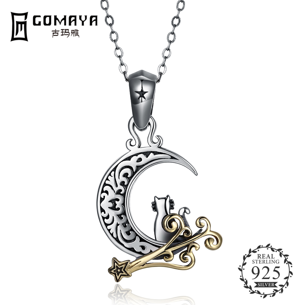GOMAYA 925 Sterling Silver Moon Pendant Necklaces for Women Fine Jewelry Tiny Cat Vintage Choker Necklace in Necklaces from Jewelry Accessories