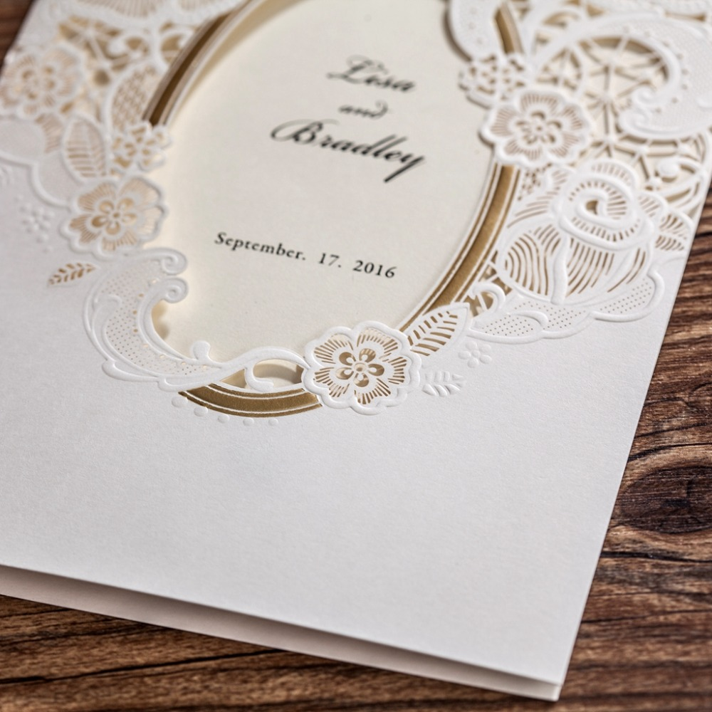 Wishmade Cw5185 White Royal Wedding Invitation Card Greeting With Laser Cut And Mirror Frame In Cards Invitations From Home Garden On