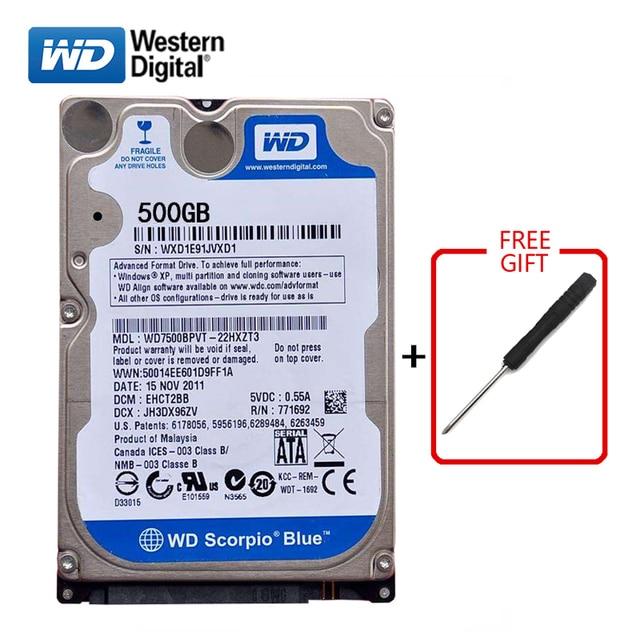 "WD Brand 500Gb 2.5"" HDD SATA Internal Hard Drive 500G HD Hard Drive 3 6GB/s 5400 7200RPM Blue hard disk for Laptop Free shipping"