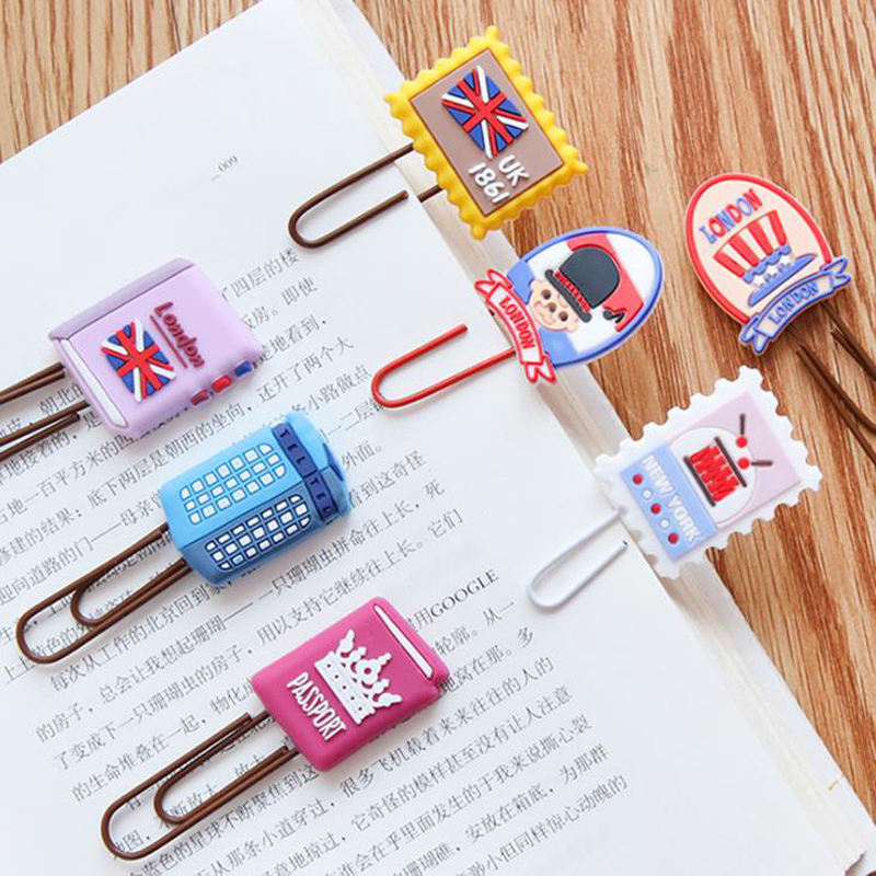 1 Pack Cute England Style Cat Cake Stamp Silicone Paper Clips Bookmarks Page Holder Memo Photo Clip Stationery Escolar Papelaria