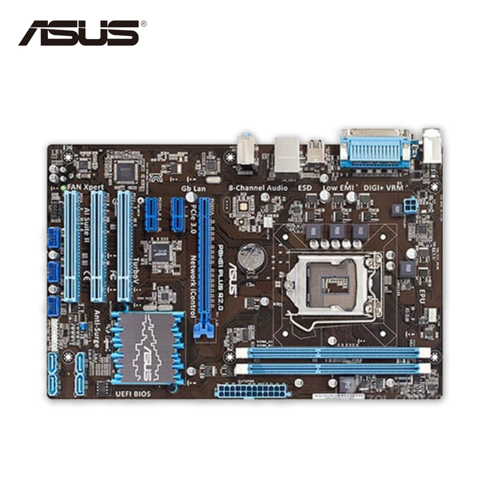 Asus P8H61 PLUS Desktop Motherboard H61 Socket LGA 1155 i3 i5 i7 DDR3 16G ATX On Sale asus p8h61 m plus v2 desktop motherboard h61 socket lga 1155 i3 i5 i7 ddr3 16g uatx on sale