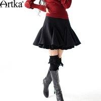 Artka ретро женская осенняя одежда шерстяная облегающяя классическая высококачественная элегантная черная удобная короткая юбка с кружевой ...