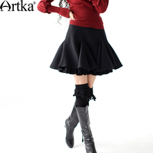 Artka Women's Spring Casual Solid Style Sheds Double Layer Fish Tail Pleated Woolen Above Knee  Half-Length Skirt  A09703
