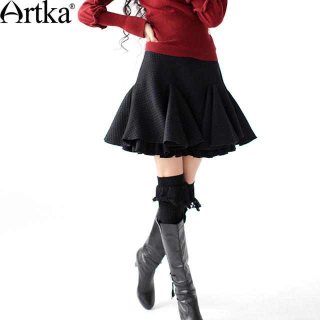 Artka mujeres del resorte ocasional del estilo sólido cobertizos double capa de cola de pescado de lana plisada encima de la rodilla media longitud de la falda a09703