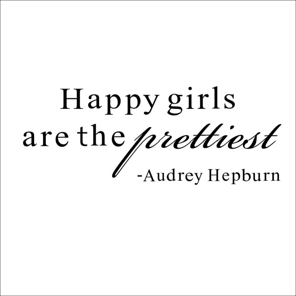 Audrey Hepburn Wall Decor Happy Girls English Quotes Famous Movie Star Audrey Hepburn Wall
