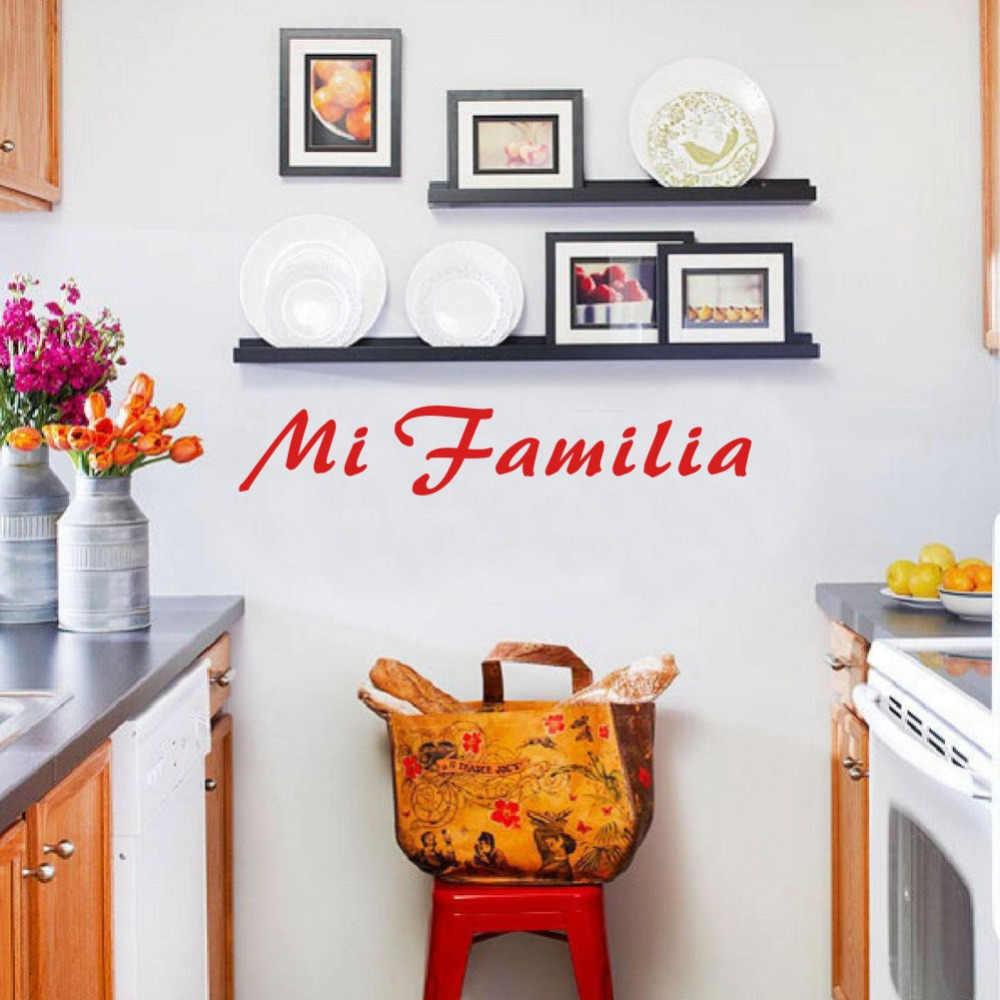 Mi Fa mi lia Espanol mur vinyle autocollant amour maison lettrage cuisine salle à manger décalque