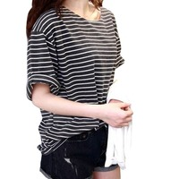 New 2014 Summer Mm All Match Basic Shirt Female Top Young Girl Stripe Loose Half Sleeve