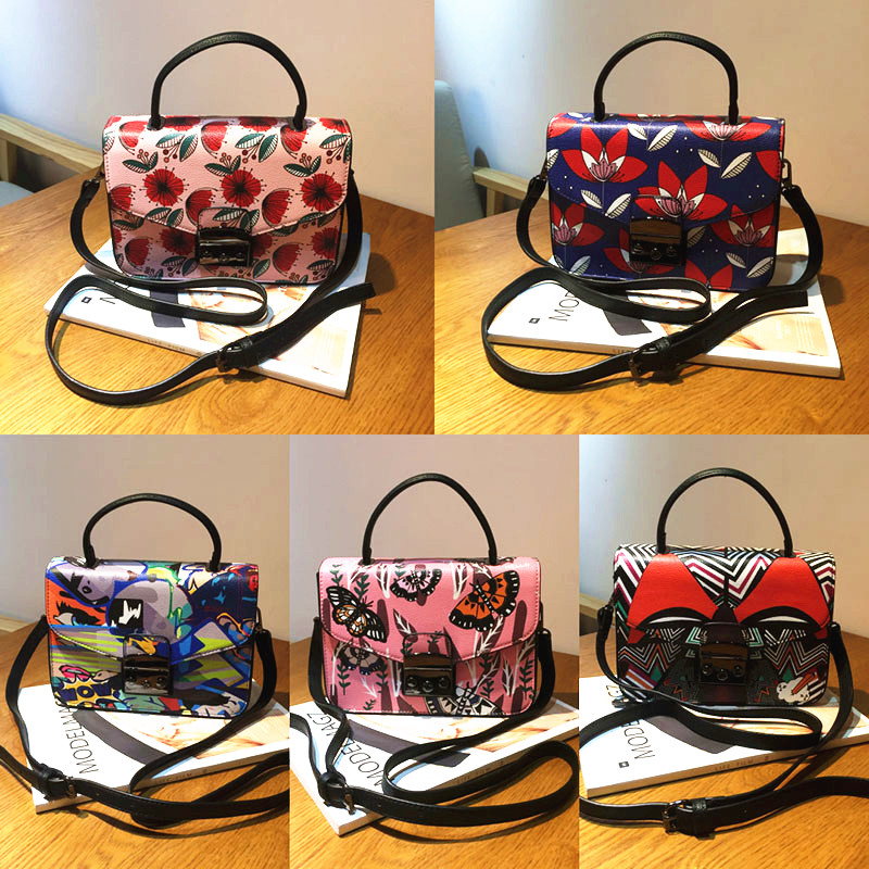 Lolita Style Women Flower Print Bag Luxury Brand Lady Shoulder Messenger Bag Famous Brand Graffiti Floral Small Flap Handbag Sac юбка other flower lolita b113