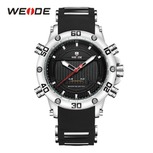 WEIDE Men's Sport Fashion Business Auto Date Silicone Strap Clock Military led Display Wristwatch Waterproof Relogio Masculino weide watch men sport water resist black leather strap led display auto date quartz wristwatches masculino clock relojes hombre