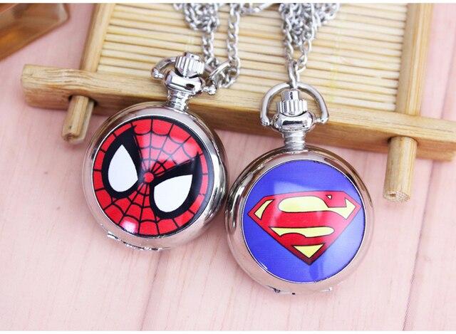 DC Universe Superman batman spiderman Superhero Fashion Pocket Watch Necklace Fr