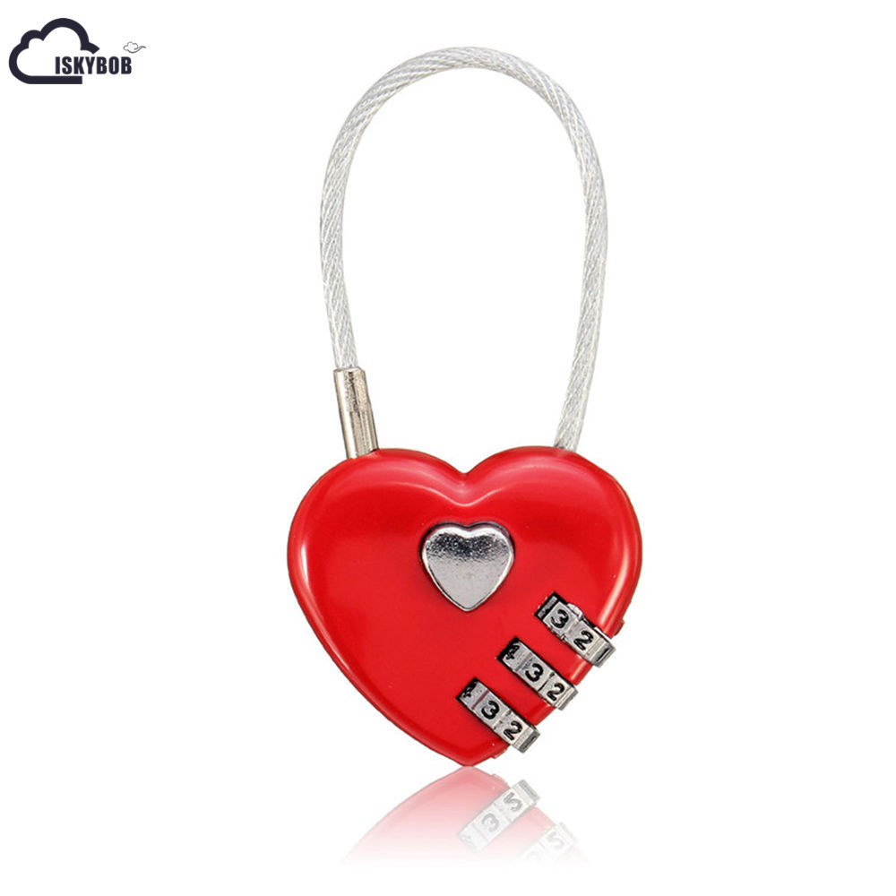 ISKYBOB Love Password Lock Wire Rope Lock Travel Bags Three Bit Digital Lock Resettable Combination Padlock Heart