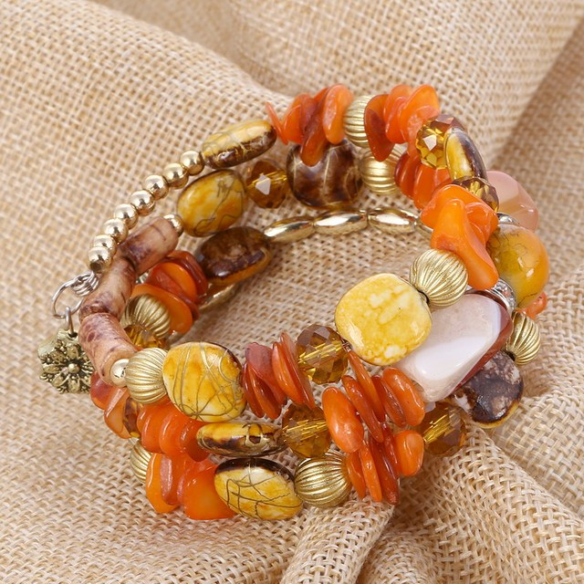Brand Woman Boho Multilayer Beads Charm Bracelets for Women Vintage Resin Stone Bracelets & Bangles Pulseras Ethnic Jewelry