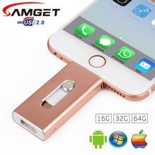 Samget флешки 8 ГБ 32 Гб 64 Гб мини USB металлический флэш-накопитель /OTG функции USB флэш-накопитель для iPhone 5/5S/5C/6/6S Plus/7/ipad/MAC/PC/Android