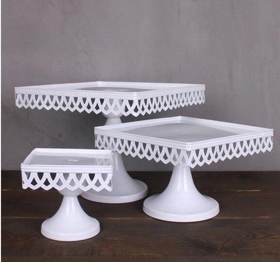 16cm 20cm 24cm European Style Wedding Table Square Cake Stand Iron Tall Cake Fruit