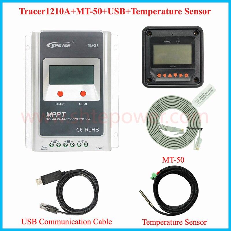 EPSolar <font><b>MPPT</b></font> солнечные панели Контроллер заряда 12 В 10A с usb и датчик температуры tracer1210a