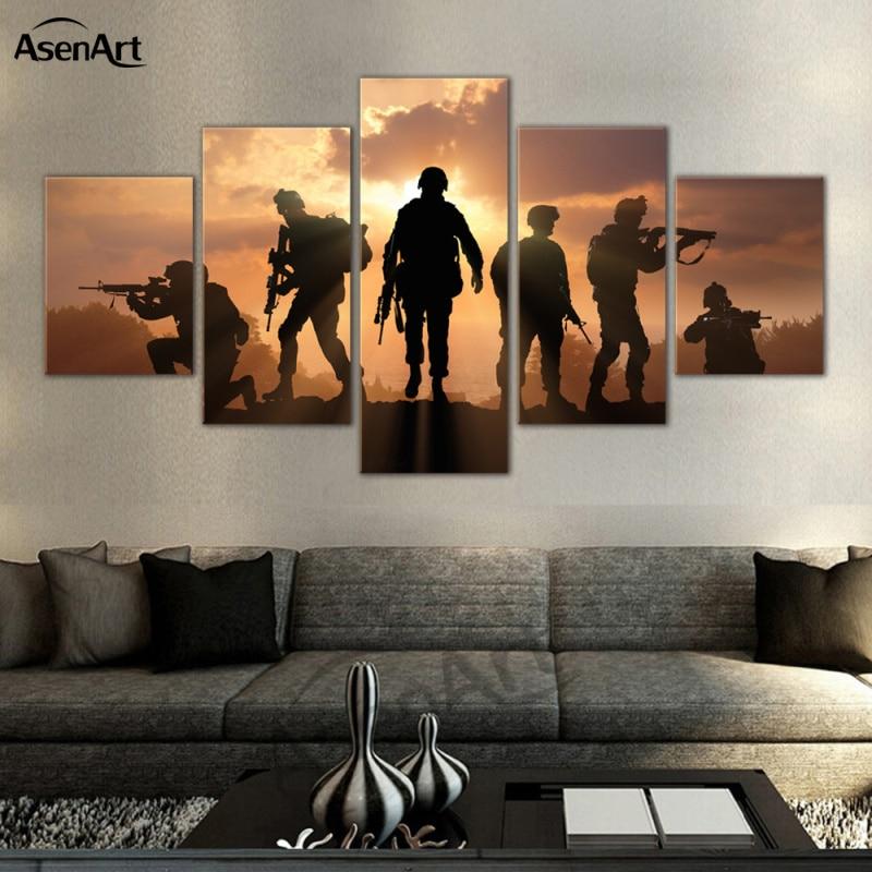 5 Panel Art Prajurit Sunset Dinding Gambar Modern Untuk Ruang Tamu - Dekorasi rumah - Foto 3