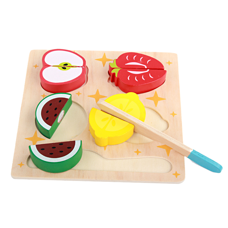 Logwood Wooden kitchen toys cutting fruit and vegetables board real life toy 6 models children Educational baby toys XWJ316-