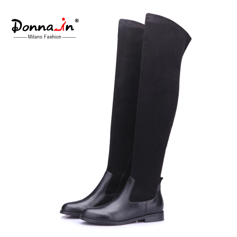 Donna in elastic suede boots calf leather over knee woman boots leggy long boots round toe