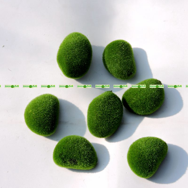 5CM 8pcs Foam Artificial Bryophytes Grass Fake Moss Fuzzy Stone Ball Rock Green Plant Decorative Flower Vase Christmas Decor F52