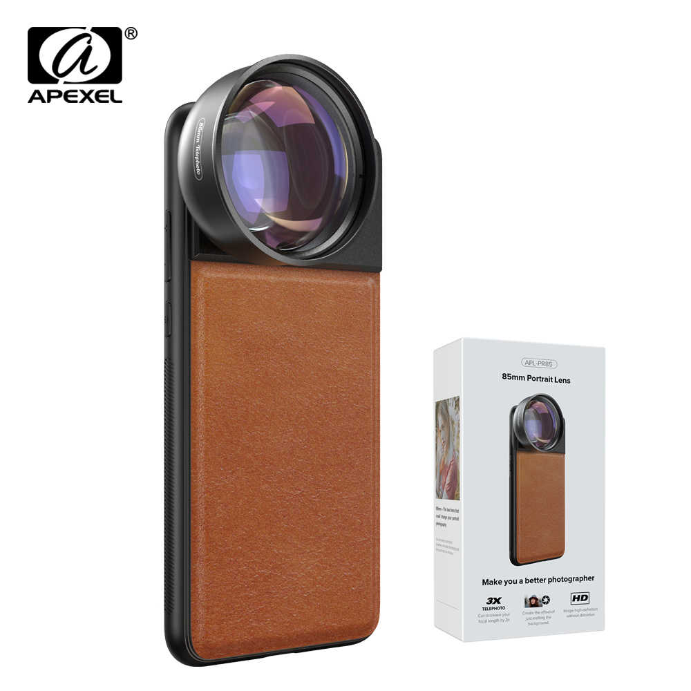 APEXEL HD 85mm Full Frame 3X Telephoto Lens Phone Camera Lens Mobile Lens With 17mm Cellphone Case For iPhone XR Samsung Xiaomi