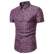 Mens Shirts Feather Print Blouse Man Short sleeves Hawaiian Shirt Clothing Social Slim fit Green Red Gray