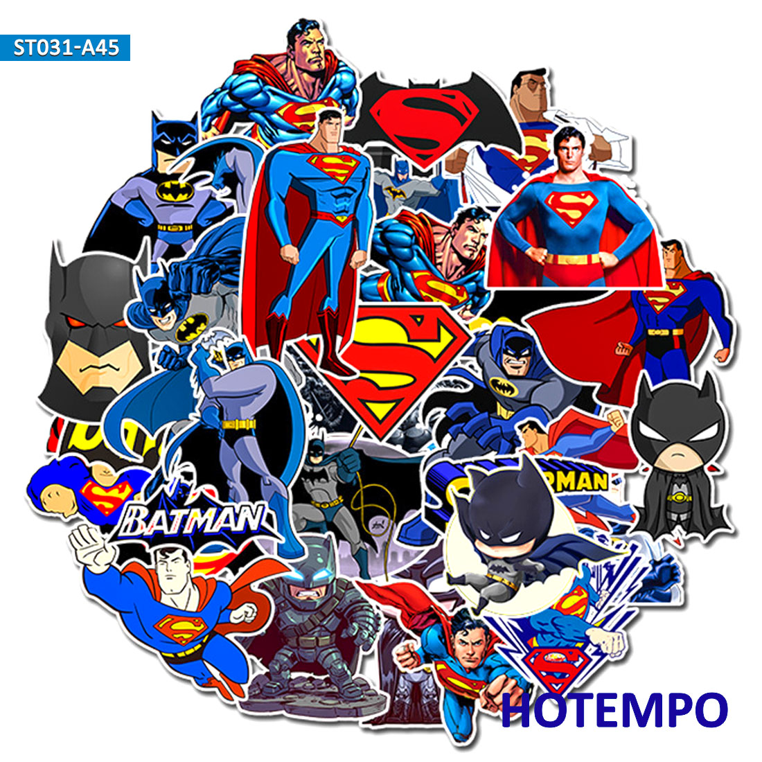45pcs DC Super Hero Marvel Superman Batman Stickers For Mobile Phone Laptop Luggage Suitcase Guitar Skateboard Car Decal Sticker
