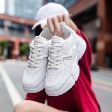 Women Lace Up Height Increase Pure White Running Sneakers Men