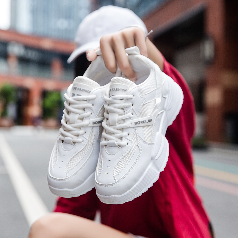 Women Lace Up Height Increase Pure White Running Sneakers Men Spring Trend Sport Shoes Female Mix Color Brand Walking Shoes
