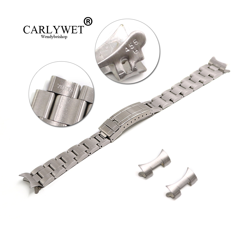 CARLYWET 20mm Stainless Steel Links Hollow Curved End Deployment Glide Lock Clasp Brushed Buckle Bracelet For 70216 455B